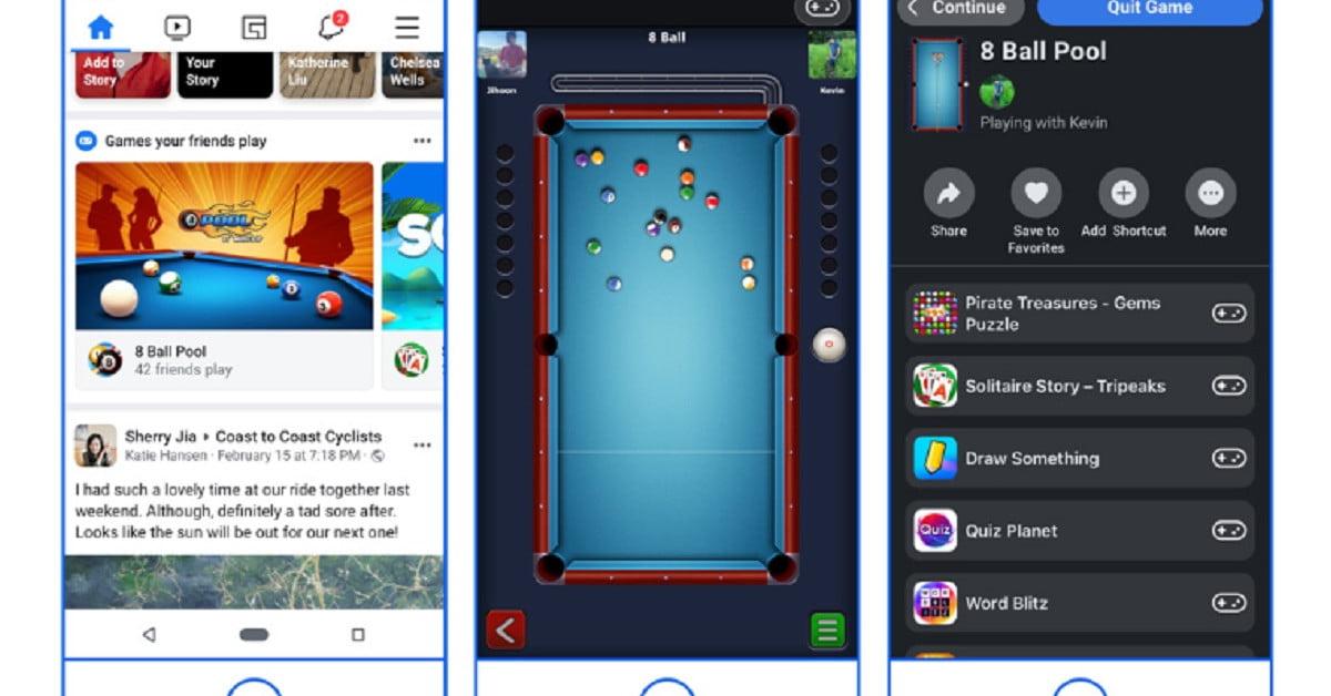 Facebook va déplacer les jeux instantanés de Messenger vers l'application principale