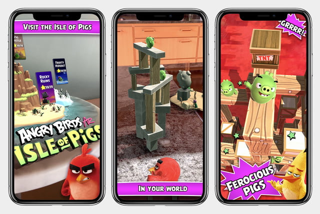 angry birds ar isle of pigs apporte la démolition en 3d dans votre salon écrans de magasin