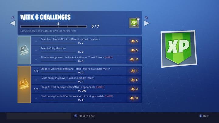 Liste des défis de la semaine 6   fortnite week 6 challenges fortnite search chilly gnomes