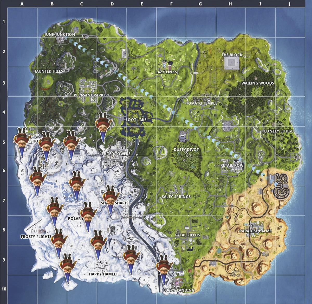 Fortnite saison 7 semaine 6 défis recherche de gnomes frileux emplacements carte