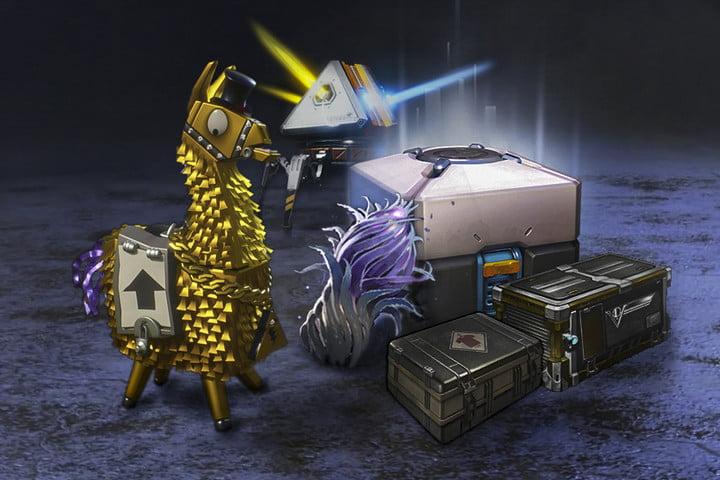 Les boîtes de butin dans différents jeux comme Fortnite, Rocket League, PUBG et Dota 2.