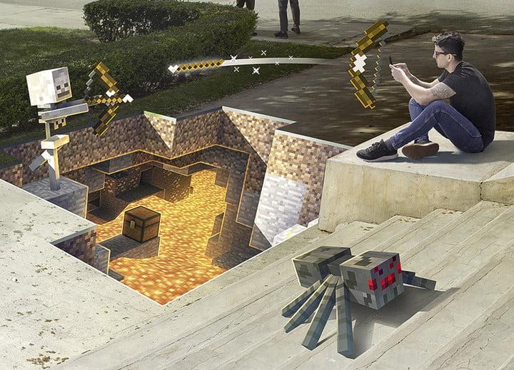Un joueur aux prises avec un squelette AR au-dessus d'une fosse de lave AR| Minecraft Earth Key Art