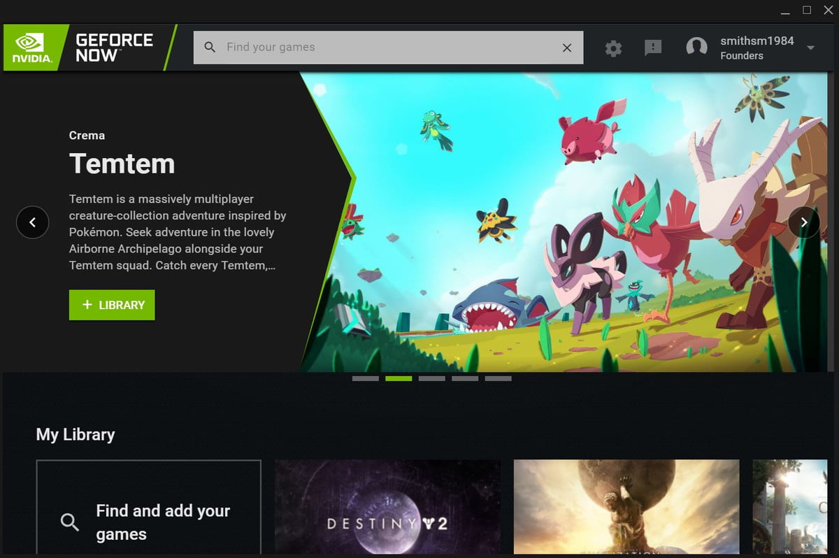 Interface Nvidia GeForce Now