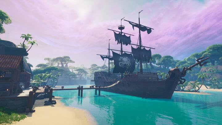 Navire pirate dans le Lazy Lagoon dans la saison 8 de Fortnite.