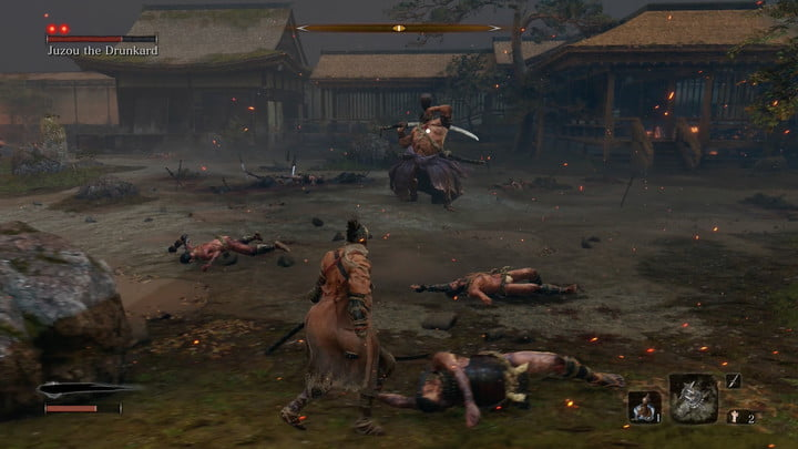 L'ivrogne sur le point de cracher du poison | Comment battre Jouzou l'ivrogne dans Sekiro : Les ombres meurent deux fois.